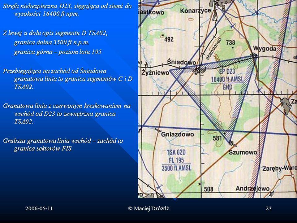 Z lewej u dołu opis segmentu D TSA02, granica dolna 3500 ft n.p.m.