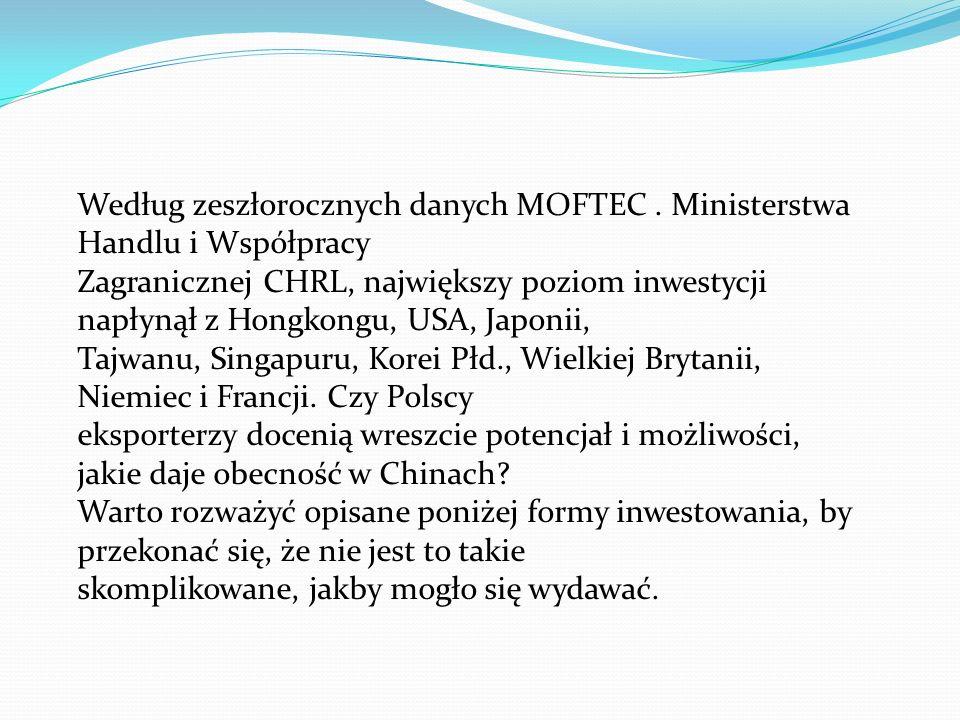 Według zeszłorocznych danych MOFTEC . Ministerstwa Handlu i Współpracy