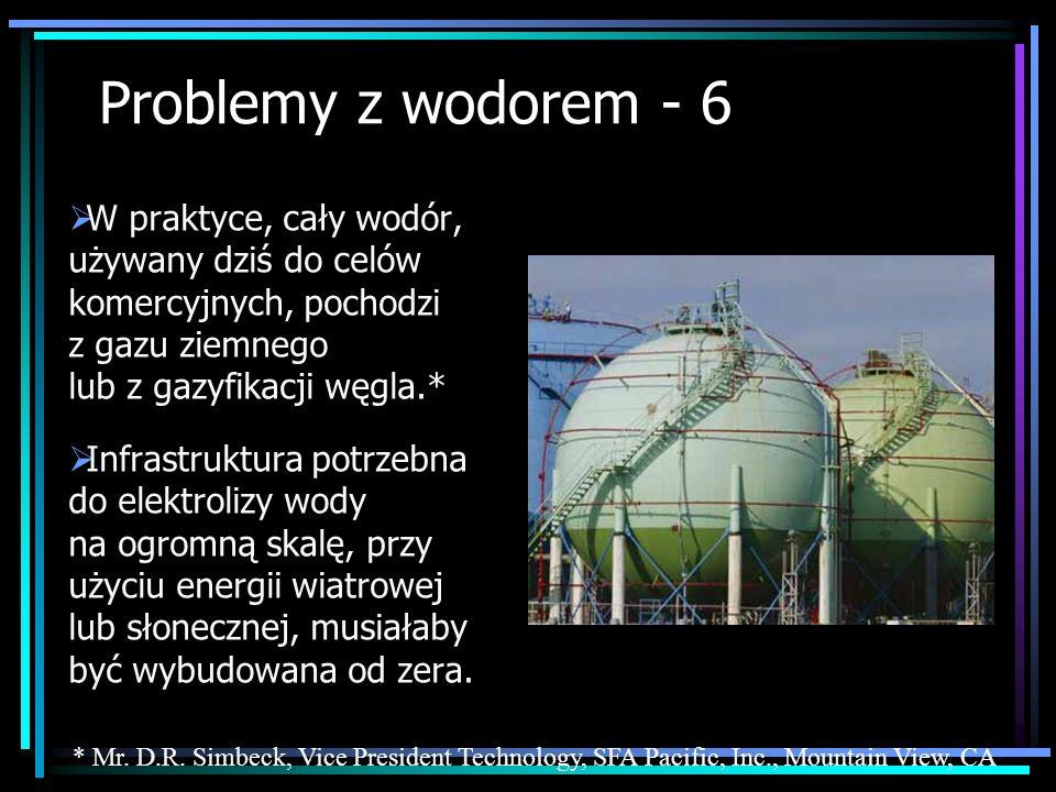 Problemy z wodorem - 6 W praktyce, cały wodór, używany dziś do celów komercyjnych, pochodzi z gazu ziemnego lub z gazyfikacji węgla.*
