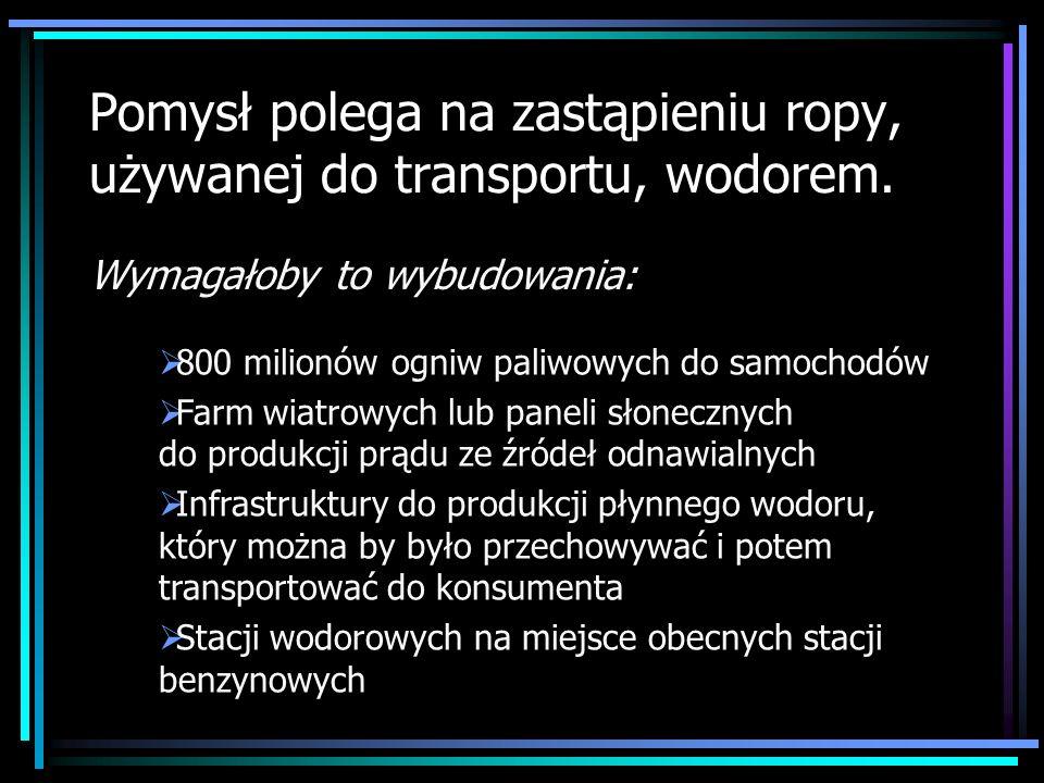 Pomysł polega na zastąpieniu ropy, używanej do transportu, wodorem.