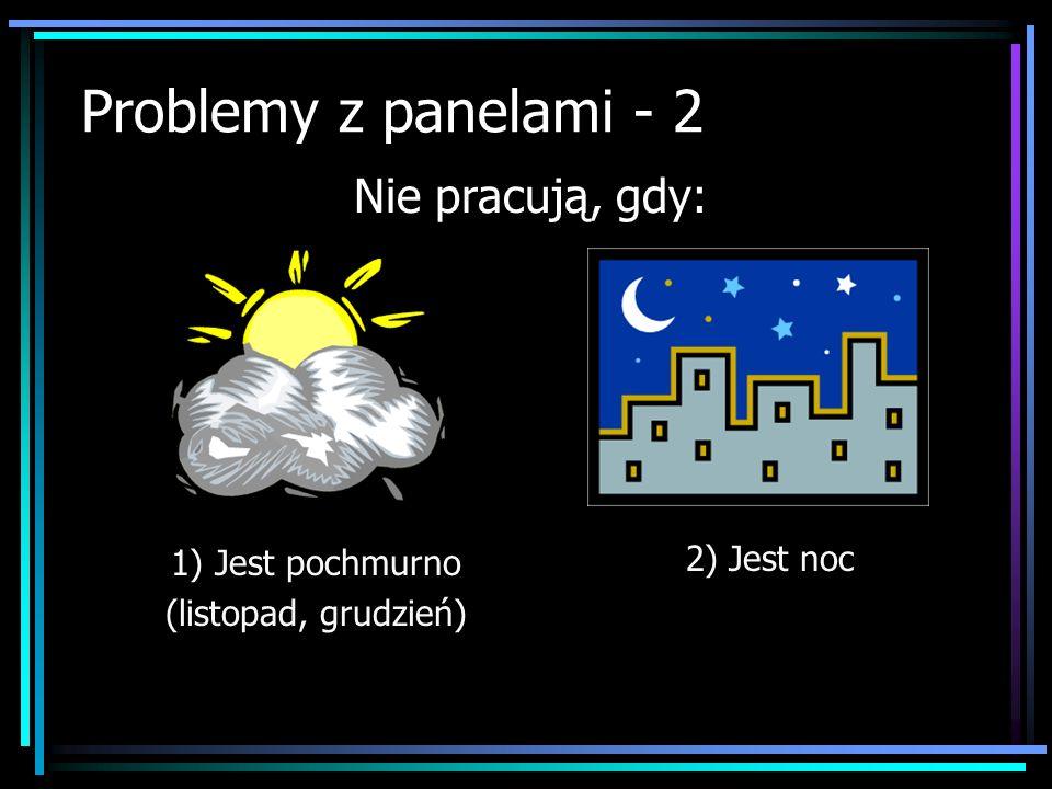 Problemy z panelami - 2 Nie pracują, gdy: 2) Jest noc