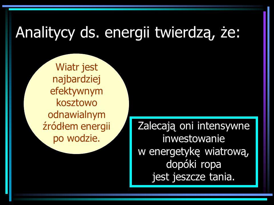 Analitycy ds. energii twierdzą, że: