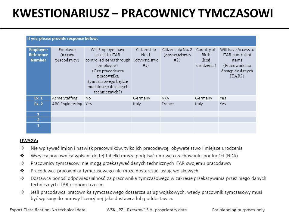 KWESTIONARIUSZ – PRACOWNICY TYMCZASOWI Employee Reference Number