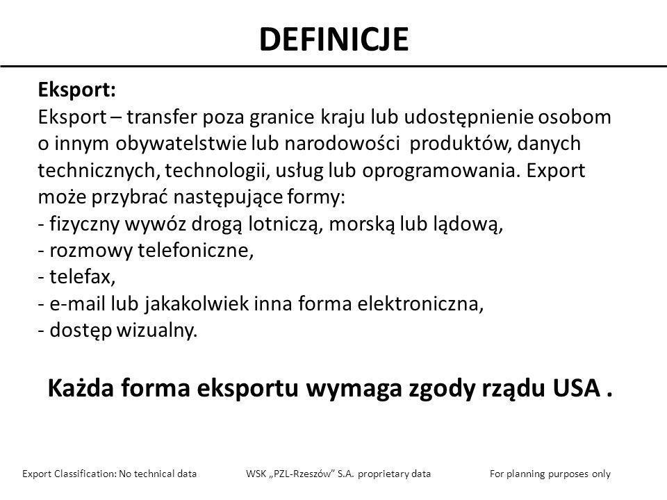 Każda forma eksportu wymaga zgody rządu USA .