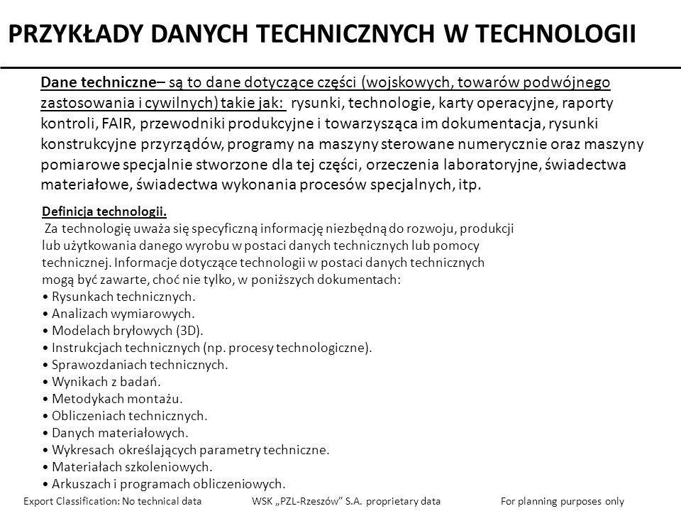 PRZYKŁADY DANYCH TECHNICZNYCH W TECHNOLOGII
