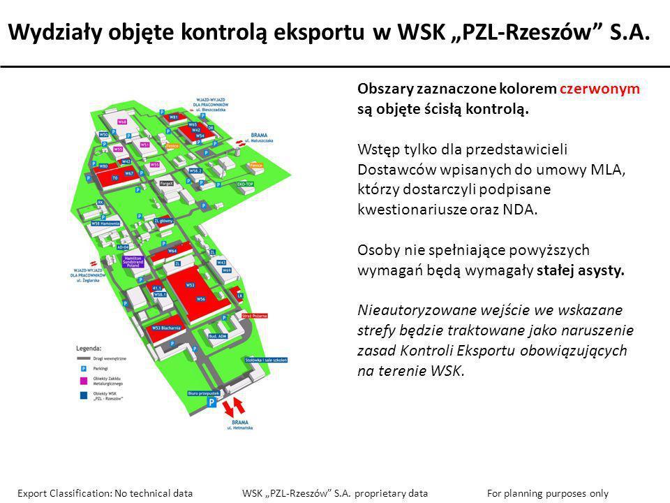 """Wydziały objęte kontrolą eksportu w WSK """"PZL-Rzeszów S.A."""