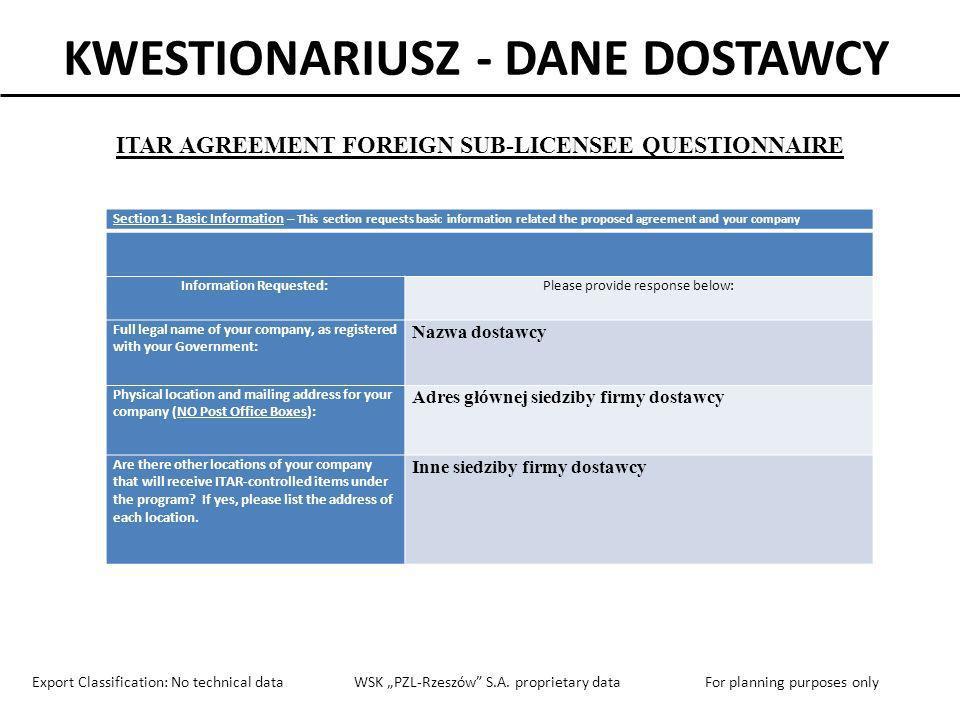 KWESTIONARIUSZ - DANE DOSTAWCY