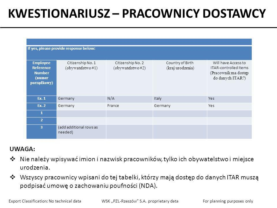 KWESTIONARIUSZ – PRACOWNICY DOSTAWCY Employee Reference Number