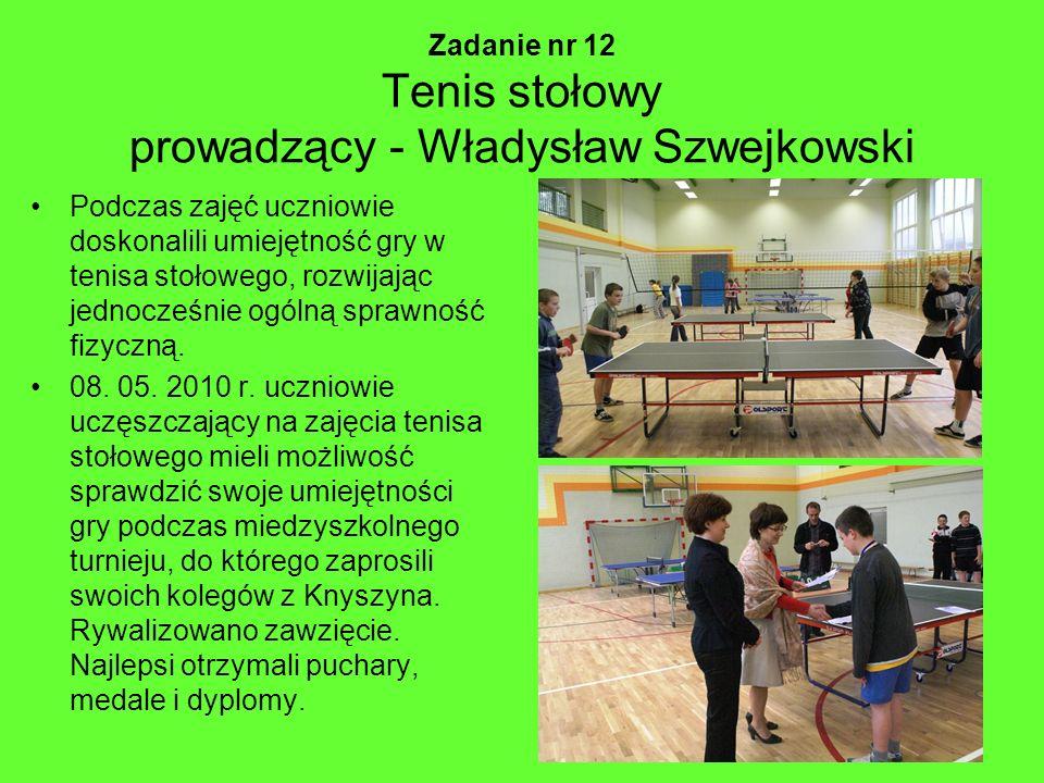 Zadanie nr 12 Tenis stołowy prowadzący - Władysław Szwejkowski