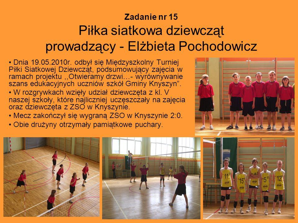 Zadanie nr 15 Piłka siatkowa dziewcząt prowadzący - Elżbieta Pochodowicz