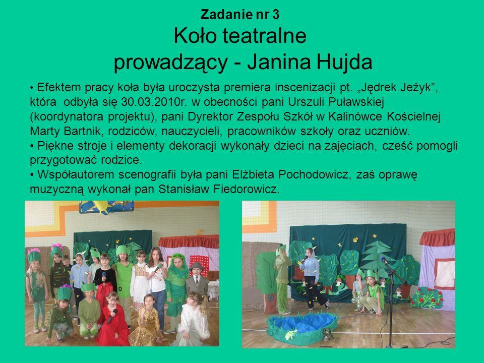 Zadanie nr 3 Koło teatralne prowadzący - Janina Hujda
