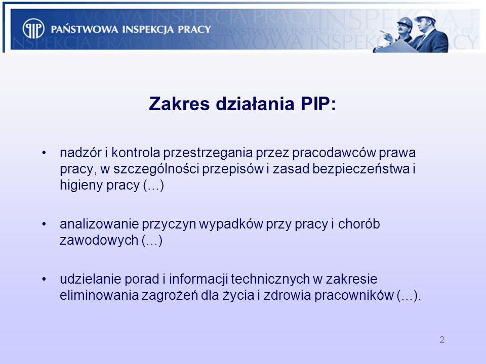 Zakres działania PIP: