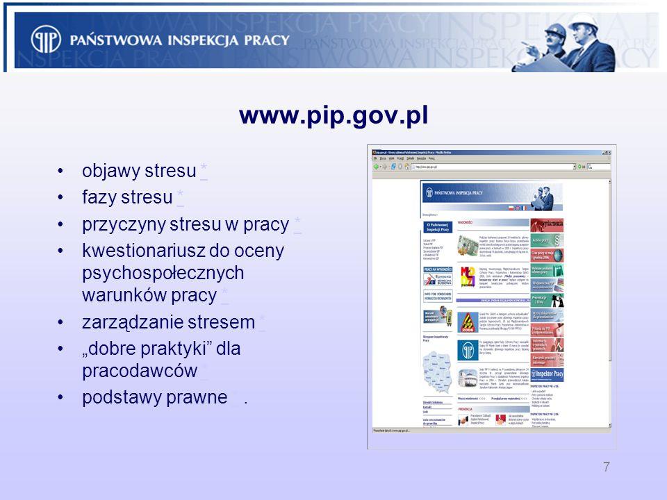 www.pip.gov.pl objawy stresu * fazy stresu *