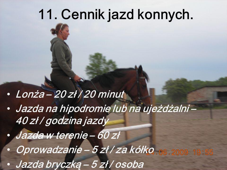 11. Cennik jazd konnych. Lonża – 20 zł / 20 minut