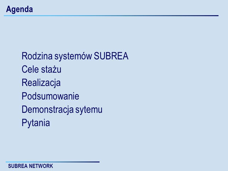 Rodzina systemów SUBREA Cele stażu Realizacja Podsumowanie