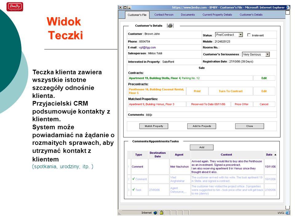 Widok Teczki Teczka klienta zawiera wszystkie istotne szczegóły odnośnie klienta. Przyjacielski CRM podsumowuje kontakty z klientem.