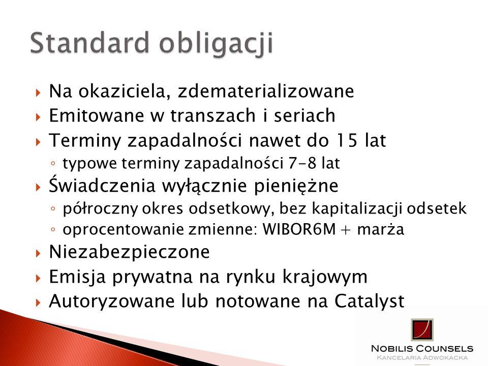 Standard obligacji Na okaziciela, zdematerializowane