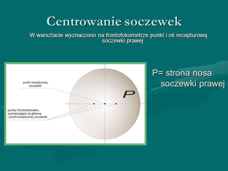 Centrowanie soczewek P= strona nosa soczewki prawej