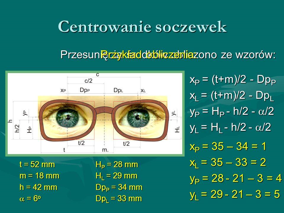 Centrowanie soczewek Przykład obliczenia: