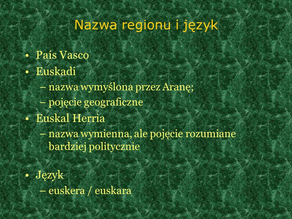 Nazwa regionu i język País Vasco Euskadi Euskal Herria Język