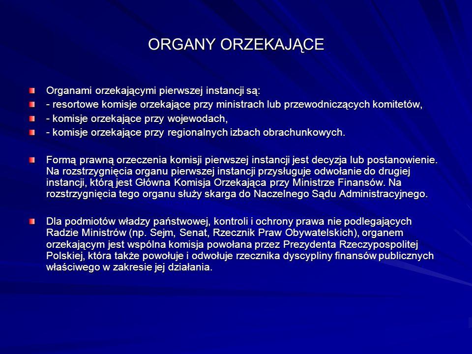 ORGANY ORZEKAJĄCE Organami orzekającymi pierwszej instancji są: