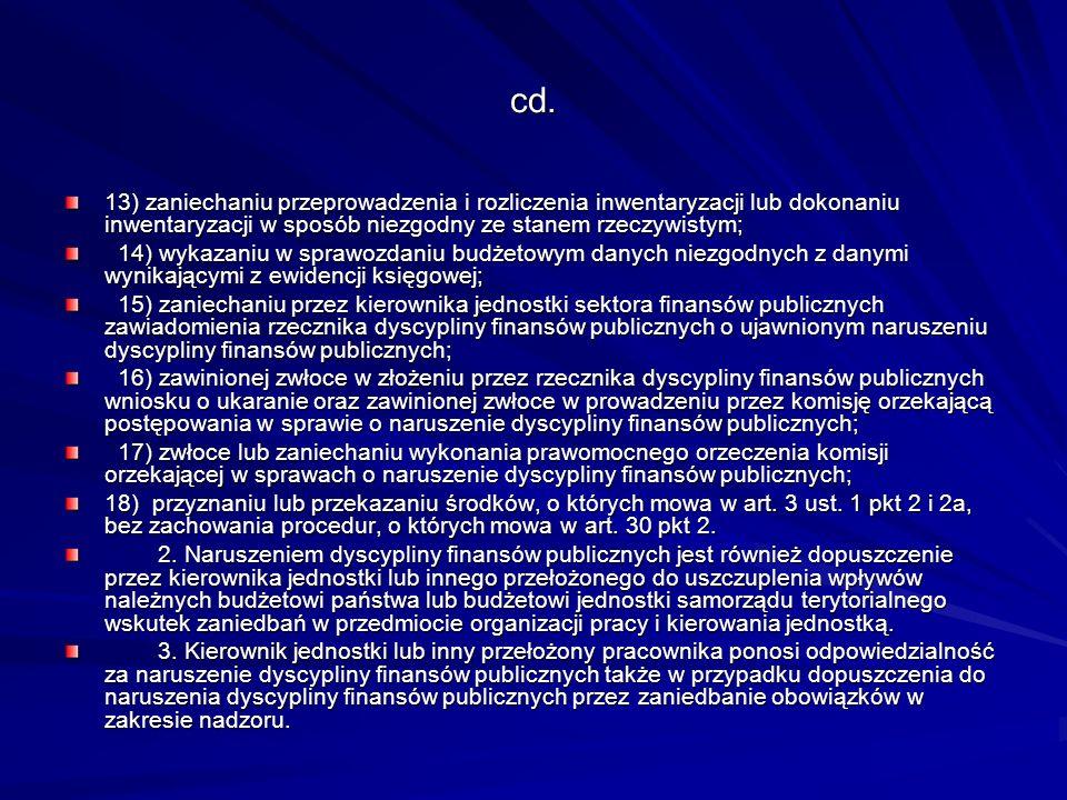 cd.13) zaniechaniu przeprowadzenia i rozliczenia inwentaryzacji lub dokonaniu inwentaryzacji w sposób niezgodny ze stanem rzeczywistym;