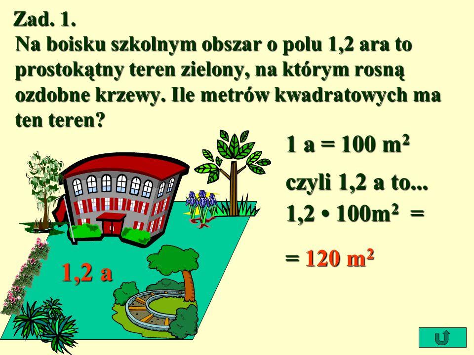 1,2 a 1 a = 100 m2 czyli 1,2 a to... 1,2 • 100m2 = = 120 m2 Zad. 1.