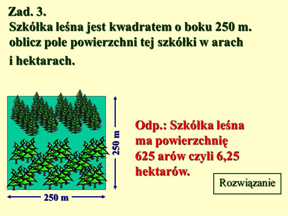 Odp.: Szkółka leśna ma powierzchnię 625 arów czyli 6,25 hektarów.