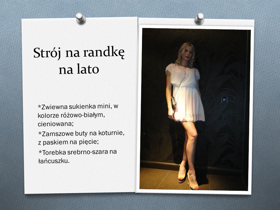 Strój na randkę na lato *Zwiewna sukienka mini, w kolorze różowo-białym, cieniowana; *Zamszowe buty na koturnie, z paskiem na pięcie;