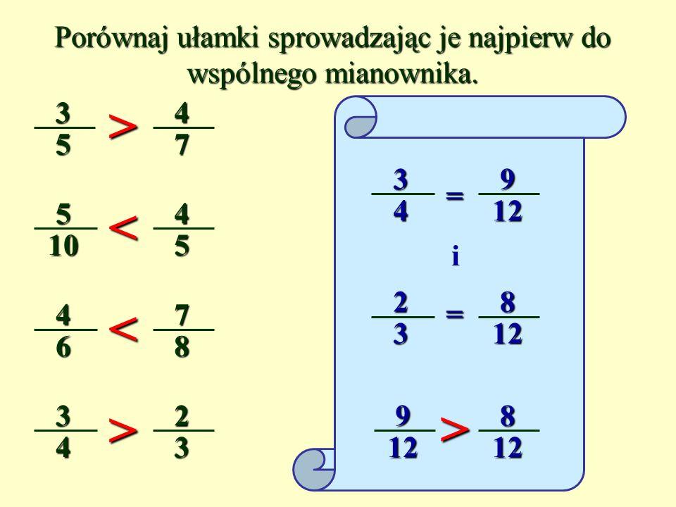 Porównaj ułamki sprowadzając je najpierw do wspólnego mianownika.