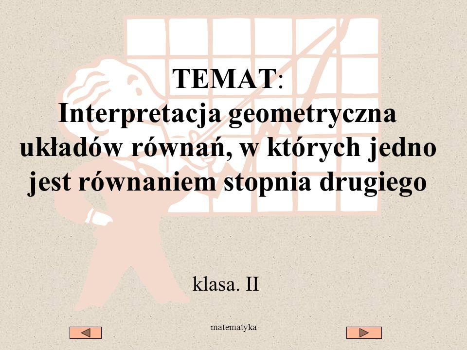 TEMAT: Interpretacja geometryczna układów równań, w których jedno jest równaniem stopnia drugiego