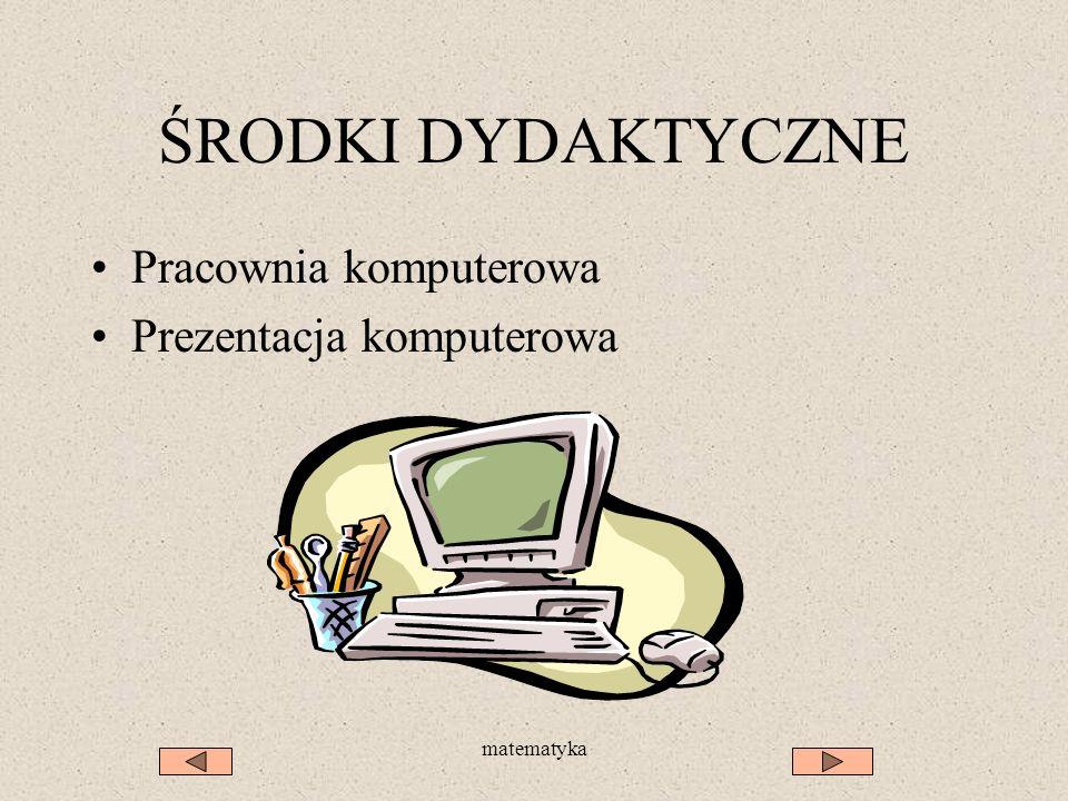 ŚRODKI DYDAKTYCZNE Pracownia komputerowa Prezentacja komputerowa