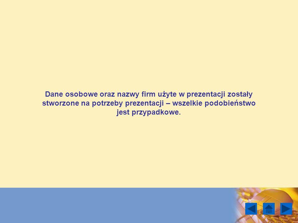 Dane osobowe oraz nazwy firm użyte w prezentacji zostały stworzone na potrzeby prezentacji – wszelkie podobieństwo jest przypadkowe.