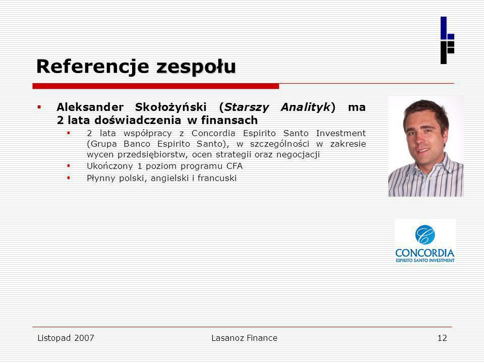 Referencje zespołu Aleksander Skołożyński (Starszy Analityk) ma 2 lata doświadczenia w finansach.