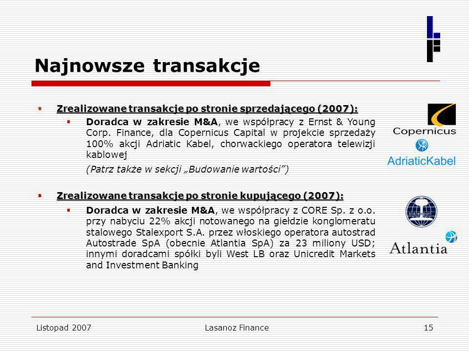 Najnowsze transakcje Zrealizowane transakcje po stronie sprzedającego (2007):