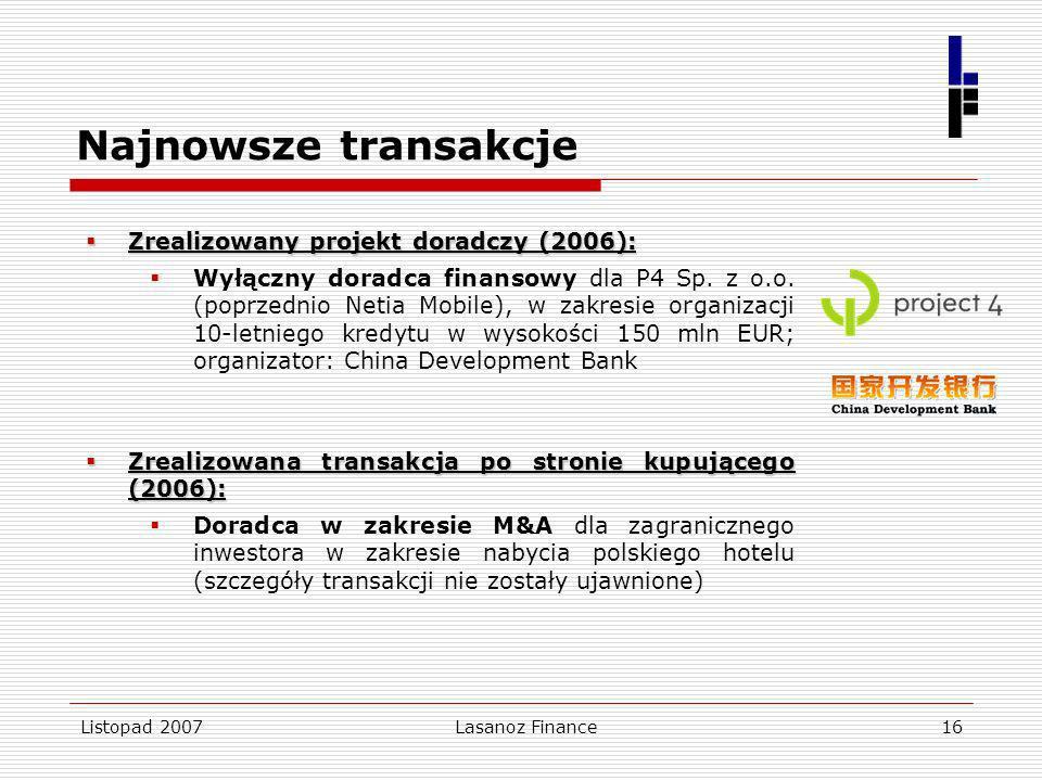 Najnowsze transakcje Zrealizowany projekt doradczy (2006):