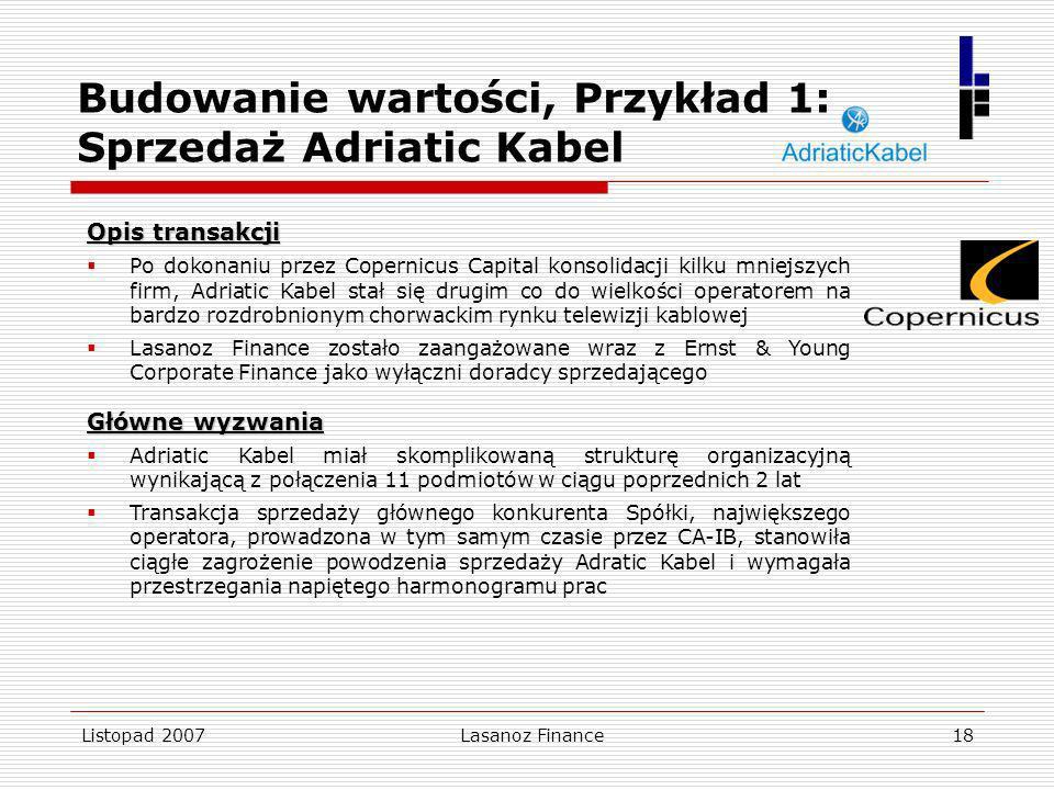 Budowanie wartości, Przykład 1: Sprzedaż Adriatic Kabel