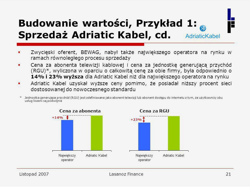 Budowanie wartości, Przykład 1: Sprzedaż Adriatic Kabel, cd.