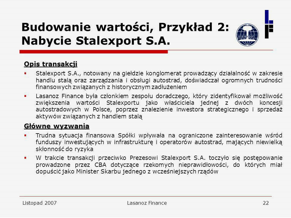 Budowanie wartości, Przykład 2: Nabycie Stalexport S.A.