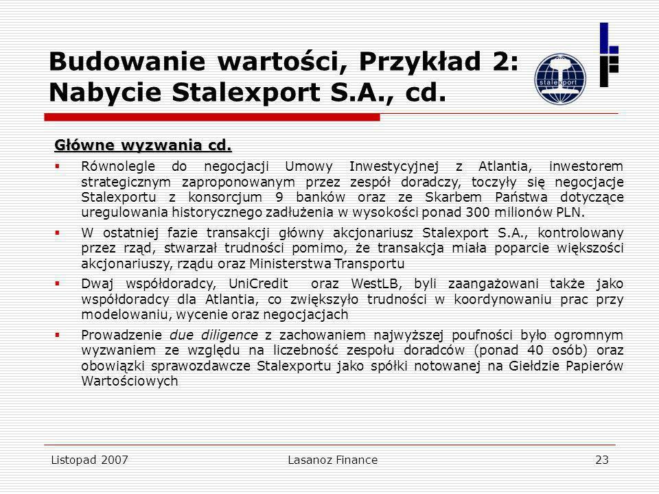 Budowanie wartości, Przykład 2: Nabycie Stalexport S.A., cd.