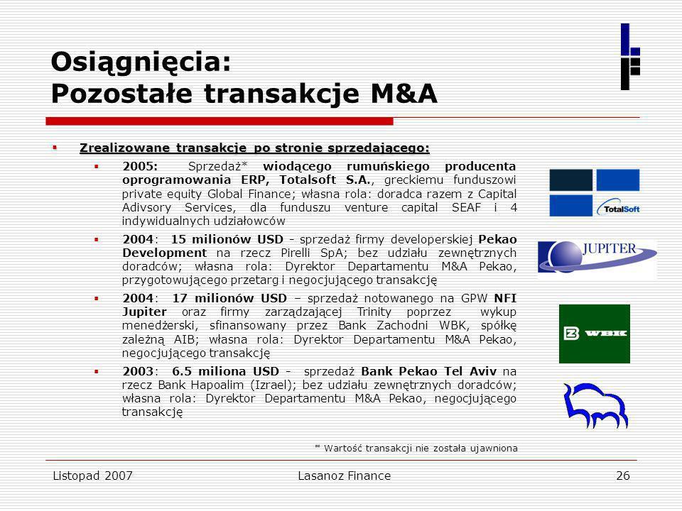 Osiągnięcia: Pozostałe transakcje M&A