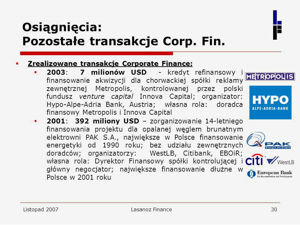 Osiągnięcia: Pozostałe transakcje Corp. Fin.