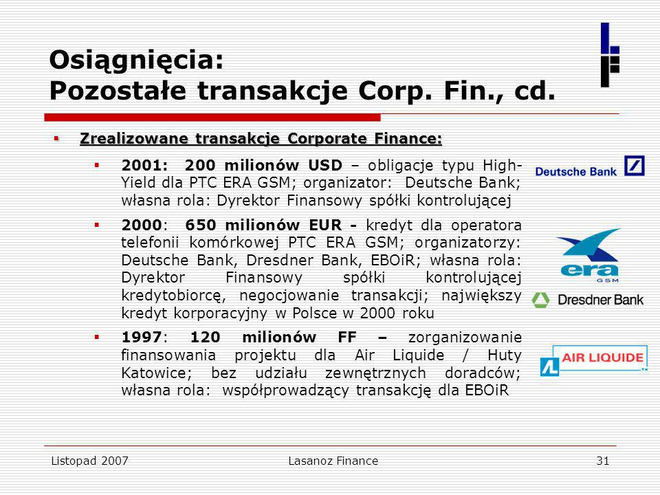 Osiągnięcia: Pozostałe transakcje Corp. Fin., cd.