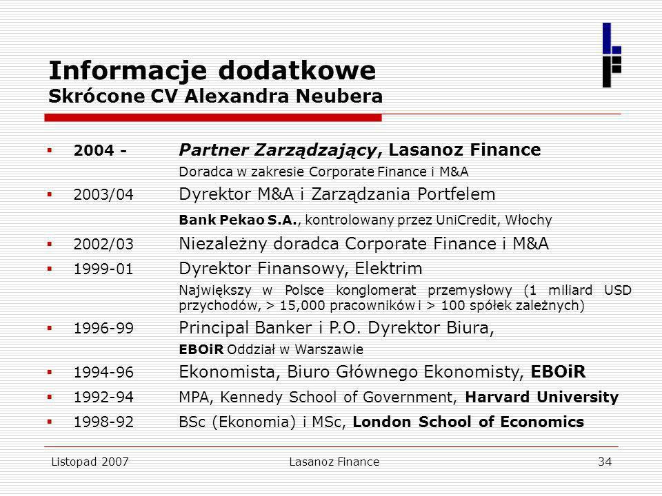 Informacje dodatkowe Skrócone CV Alexandra Neubera