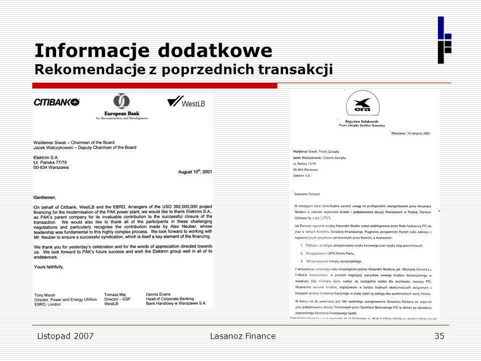 Informacje dodatkowe Rekomendacje z poprzednich transakcji