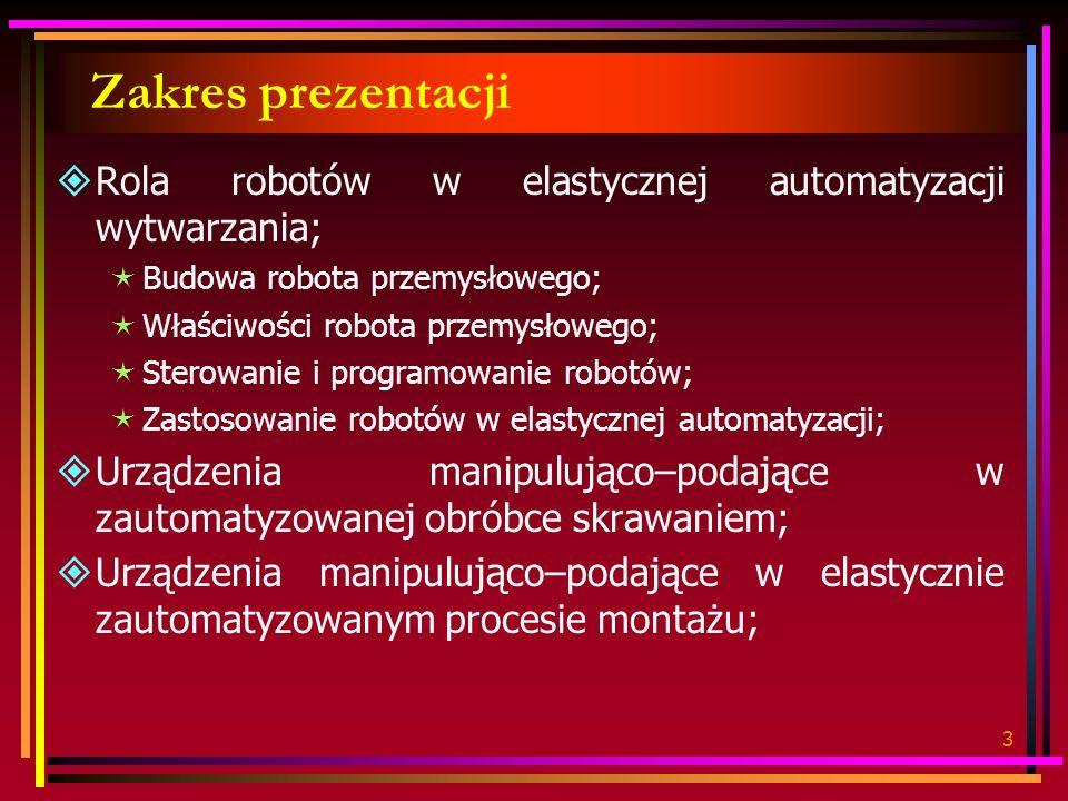 Zakres prezentacji Rola robotów w elastycznej automatyzacji wytwarzania; Budowa robota przemysłowego;