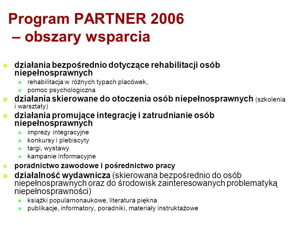 Program PARTNER 2006 – obszary wsparcia