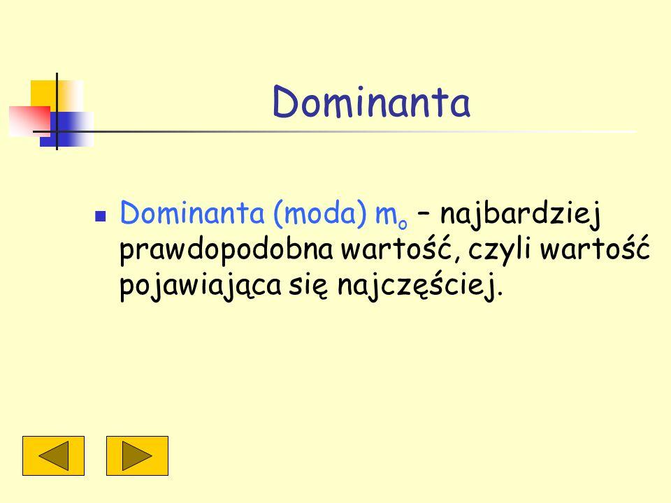 Dominanta Dominanta (moda) mo – najbardziej prawdopodobna wartość, czyli wartość pojawiająca się najczęściej.