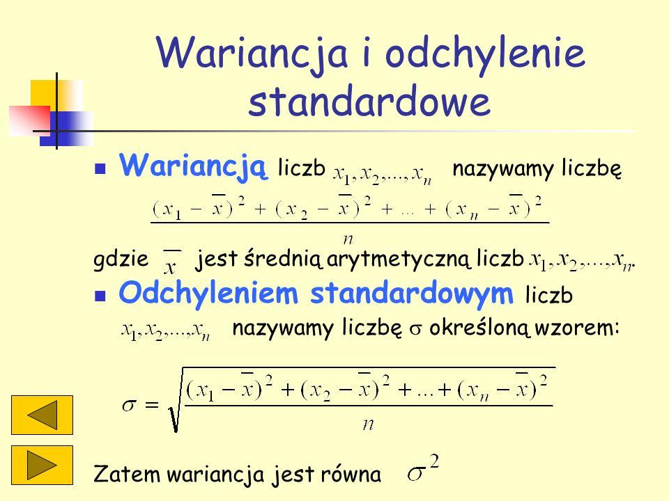 Wariancja i odchylenie standardowe