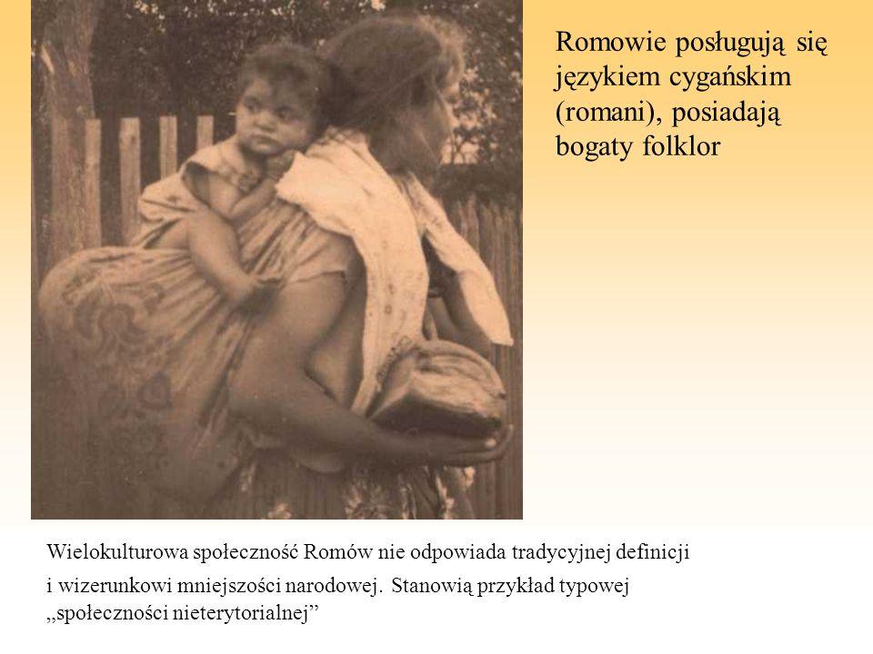 Romowie posługują się językiem cygańskim (romani), posiadają bogaty folklor